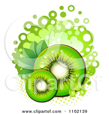 Clipart Green Kiwi Slices Over Halftone And Circles On White 2 - Royalty Free Vector Illustration by merlinul