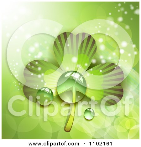 Clipart St Patricks Day Background Of Dewy Green Shamrocks 2 - Royalty Free Vector Illustration by merlinul