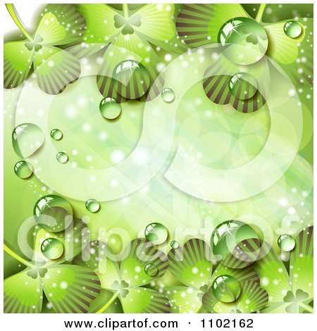 Clipart St Patricks Day Background Of Dewy Green Shamrocks 3 - Royalty Free Vector Illustration by merlinul