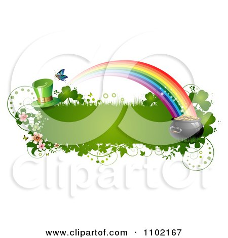 Clipart St Patricks Day Banner With A Leprechaun Hat Rainbow And Pot Of Gold - Royalty Free Vector Illustration by merlinul