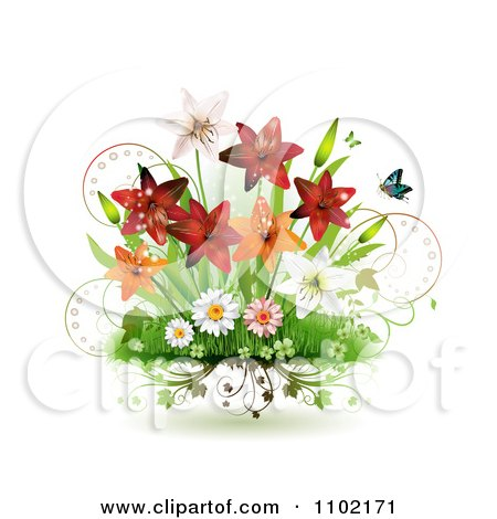 Clipart Spring Lilies Daisies And Shamrocks With Butterflies On White - Royalty Free Vector Illustration by merlinul