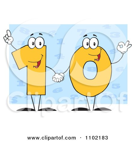 Clipart Yellow One And Zero Holding Hands And Forming A 10 Over Blue - Royalty Free Vector Illustration by Hit Toon