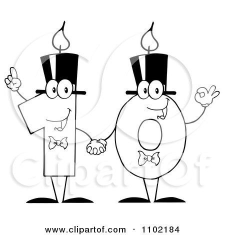 Clipart Outlined One And Zero Birthday Candles Holding Hands And Forming A Ten - Royalty Free Vector Illustration by Hit Toon