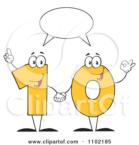 Clipart Talking Yellow One And Zero Holding Hands And Forming A Ten - Royalty Free Vector Illustration by Hit Toon