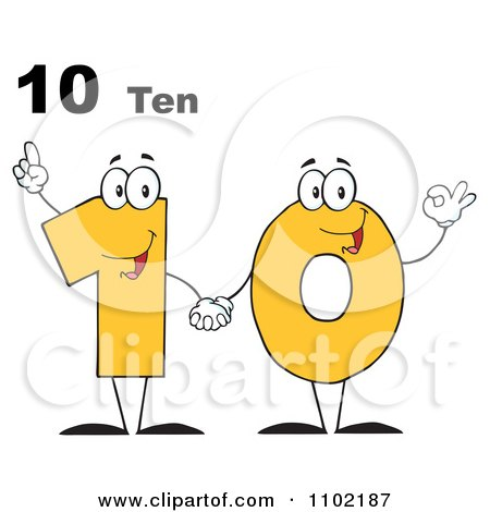 Clipart 10 Ten Text Over A Yellow One And Zero Holding Hands - Royalty Free Vector Illustration by Hit Toon