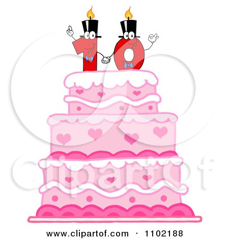 Clipart Red One And Zero Candles Forming A Ten On A Pink Birthday Cake - Royalty Free Vector Illustration by Hit Toon