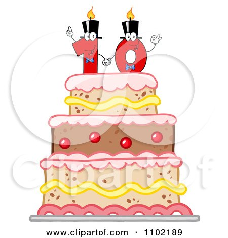 Clipart Red One And Zero Candles Forming A Ten On A Birthday Cake - Royalty Free Vector Illustration by Hit Toon