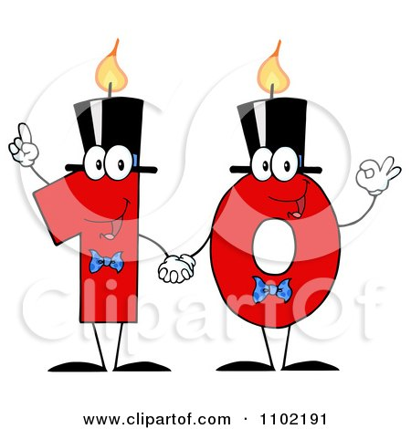 Clipart Red One And Zero Birthday Candles Holding Hands And Forming A Ten - Royalty Free Vector Illustration by Hit Toon