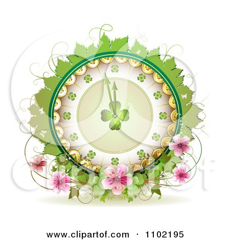 Clipart St Patricks Day Shamrock Clock With Coins Leaves Vines And Blossoms - Royalty Free Vector Illustration by merlinul