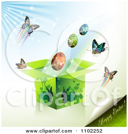 Clipart Happy Easter Text With A Gift Box Eggs And Butterflies 1 - Royalty Free Vector Illustration by merlinul