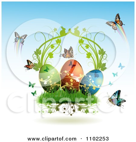 Clipart Easter Eggs With Butterflies And Grass 2 - Royalty Free Vector Illustration by merlinul