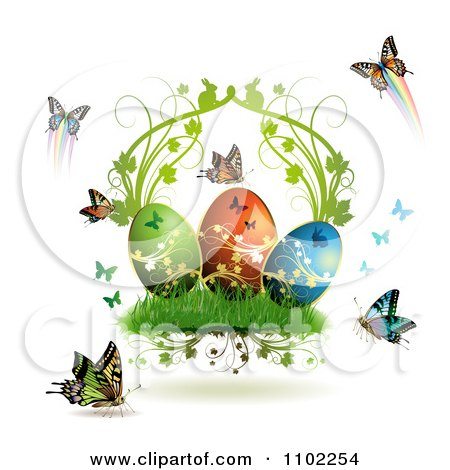Easter Eggs With Butterflies And Grass 3 Posters, Art Prints