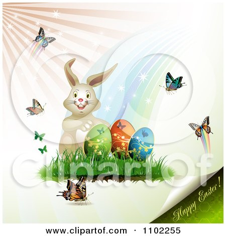Clipart Happy Easter Text Under A Bunny With Eggs And Butterflies - Royalty Free Vector Illustration by merlinul