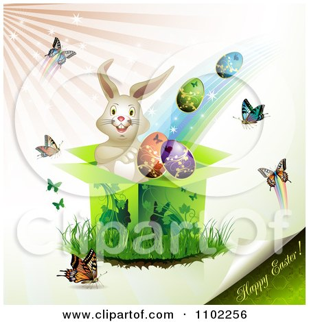 Clipart Happy Easter Text With A Bunny Gift Box Eggs And Butterflies - Royalty Free Vector Illustration by merlinul