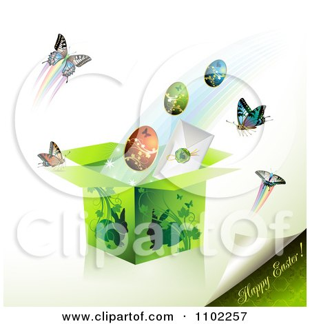 Clipart Happy Easter Text With A Gift Box Eggs And Butterflies 2 - Royalty Free Vector Illustration by merlinul