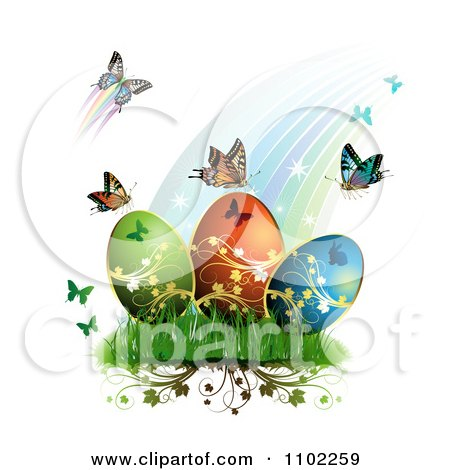 Clipart Rainbow With Butterflies And Easter Eggs 1 - Royalty Free Vector Illustration by merlinul
