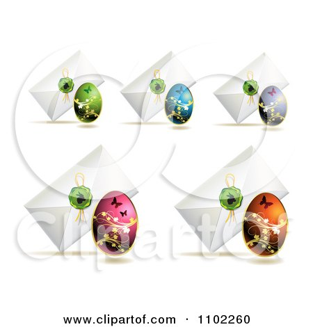 Clipart Envelopes With Easter Eggs And Bunny Wax Seals - Royalty Free Vector Illustration by merlinul
