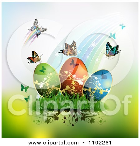 Clipart Rainbow With Butterflies And Easter Eggs 2 - Royalty Free Vector Illustration by merlinul