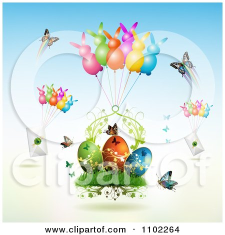 Clipart Butterflies Bunny Balloons With Letters And Easter Eggs - Royalty Free Vector Illustration by merlinul