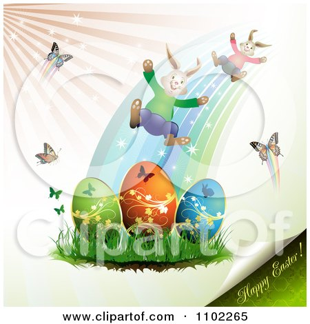 Clipart Happy Easter Text With Eggs Bunnies And Butterflies - Royalty Free Vector Illustration by merlinul