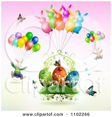 Clipart Easter Bunnies With Balloons Over Butterflies And Eggs 1 - Royalty Free Vector Illustration by merlinul