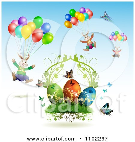 Clipart Easter Bunnies With Balloons Over Butterflies And Eggs 2 - Royalty Free Vector Illustration by merlinul