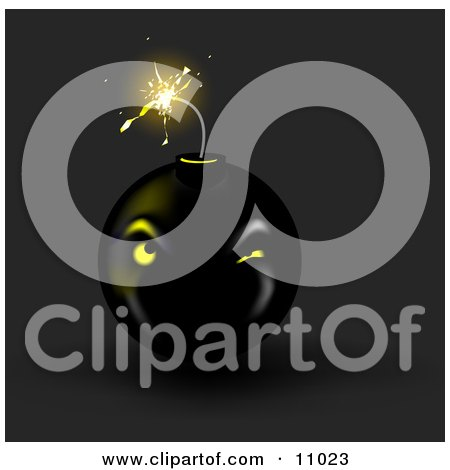 Lit Black Bomb About to Explode Clipart Picture by Leo Blanchette