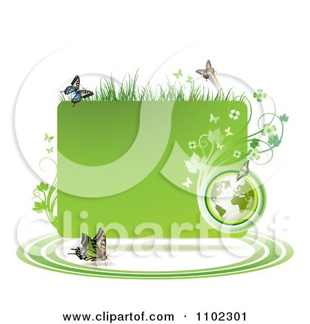 Clipart Green Grassy Vine Butterfly And Globe Frame - Royalty Free Vector Illustration by merlinul