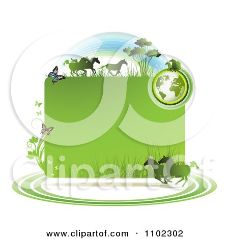 Clipart Green Globe Frame With Wild Horses And Butterflies - Royalty Free Vector Illustration by merlinul