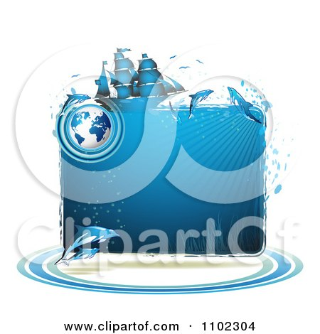 Clipart Blue Water Globe Ship And Dolphins Frame - Royalty Free Vector Illustration by merlinul