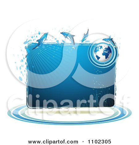 Clipart Blue Water Globe And Dolphins Frame - Royalty Free Vector Illustration by merlinul