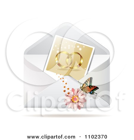 Clipart Instant Photo Of Wedding Rings With A Butterfly And Daisy On An Envelope - Royalty Free Vector Illustration by merlinul