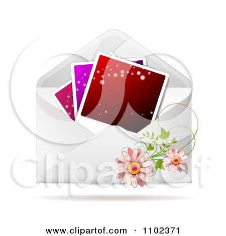 Clipart Instant Photo With Daisies On An Envelope - Royalty Free Vector Illustration by merlinul
