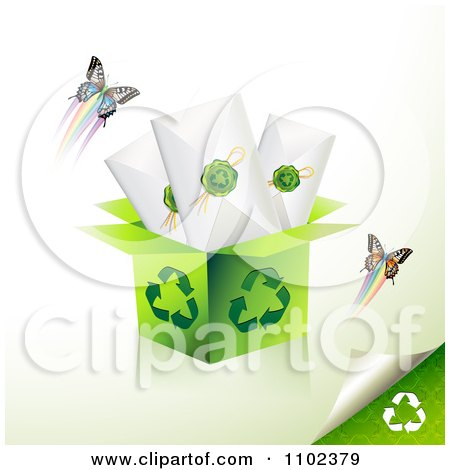 Clipart Recycle Box With Sealed Envelopes And Butterflies - Royalty Free Vector Illustration by merlinul