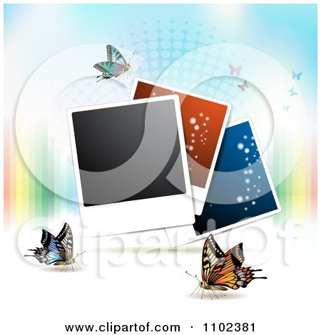 Clipart Instant Photo And Butterfly Background 6 - Royalty Free Vector Illustration by merlinul