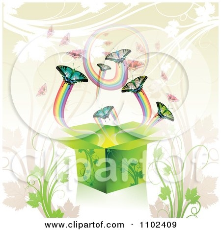 Clipart Butterfly Gift Box Background 3 - Royalty Free Vector Illustration by merlinul