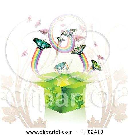 Clipart Butterfly Gift Box Background 4 - Royalty Free Vector Illustration by merlinul