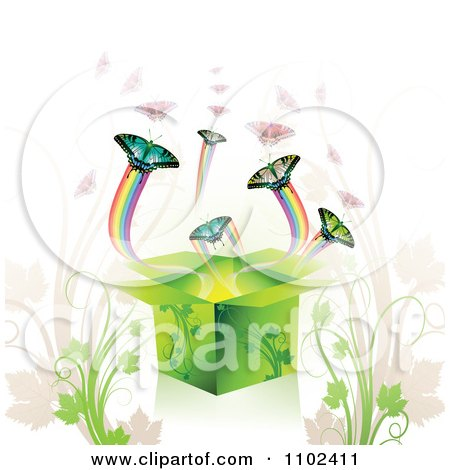 Clipart Butterfly Gift Box Background 1 - Royalty Free Vector Illustration by merlinul
