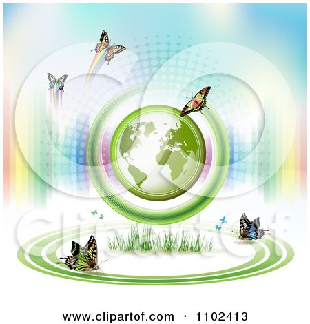 Clipart  Butterfly Trail And Globe Background 9 - Royalty Free Vector Illustration by merlinul