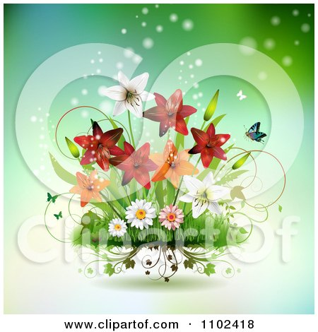 Clipart Butterfly And Lily Background 2 - Royalty Free Vector Illustration by merlinul