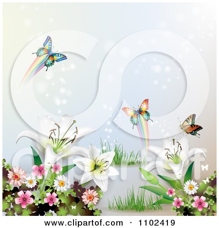 Clipart Butterfly And Lily Background 3 - Royalty Free Vector Illustration by merlinul