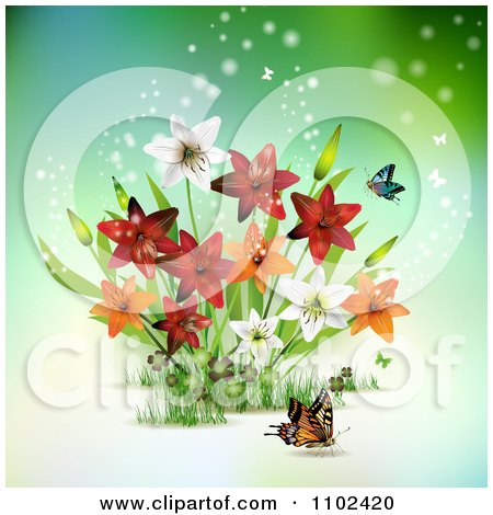 Clipart Butterfly And Lily Background 1 - Royalty Free Vector Illustration by merlinul