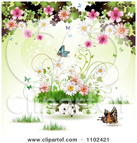 Clipart Butterfly Grass And Spring Flower Background 4 - Royalty Free Vector Illustration by merlinul