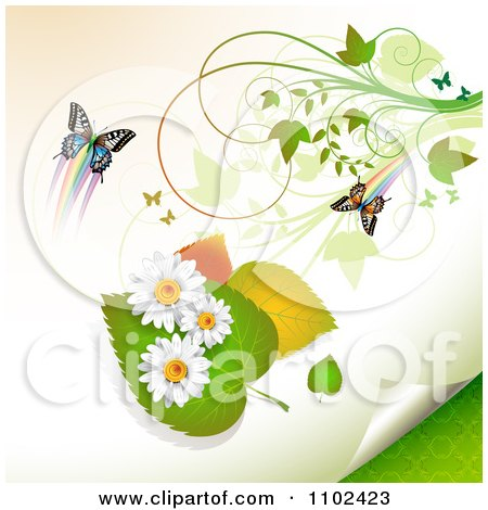 Clipart Butterfly Daisy And Leaf Background 1 - Royalty Free Vector Illustration by merlinul