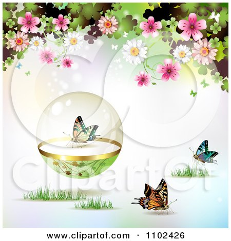 Clipart Butterfly Protective Sphere And Blossoms Background - Royalty Free Vector Illustration by merlinul