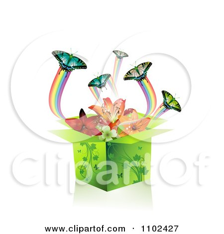 Clipart Butterfly Gift Box Background 2 - Royalty Free Vector Illustration by merlinul