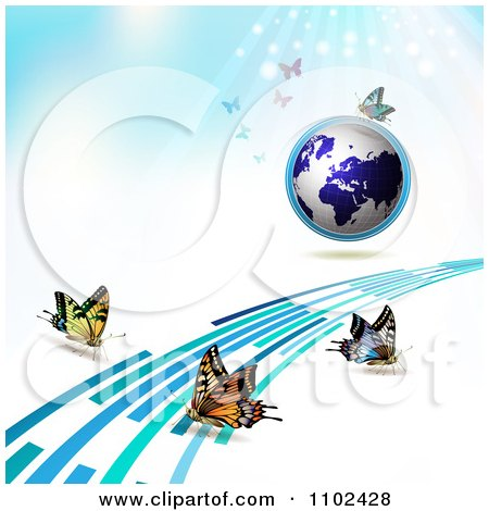 Clipart  Butterfly Trail And Globe Background 3 - Royalty Free Vector Illustration by merlinul