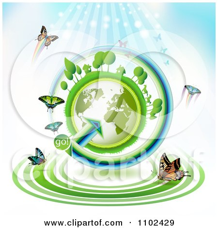 Clipart  Butterfly Trail And Globe Background 1 - Royalty Free Vector Illustration by merlinul