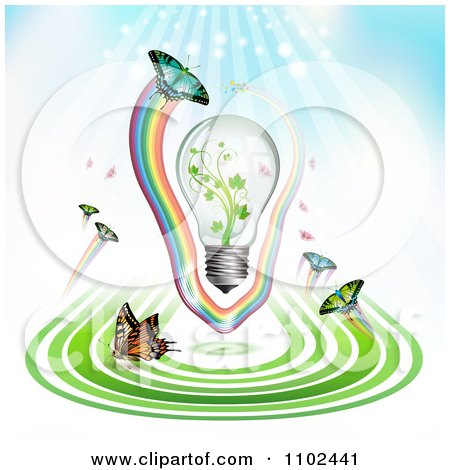 Clipart Butterfly And Green Energy Light Bulb Background - Royalty Free Vector Illustration by merlinul