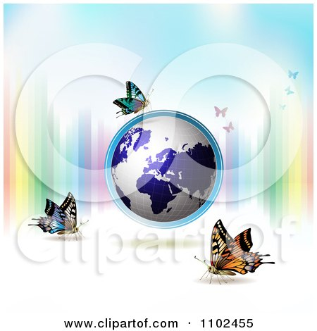 Clipart Butterfly And Globe Background - Royalty Free Vector Illustration by merlinul